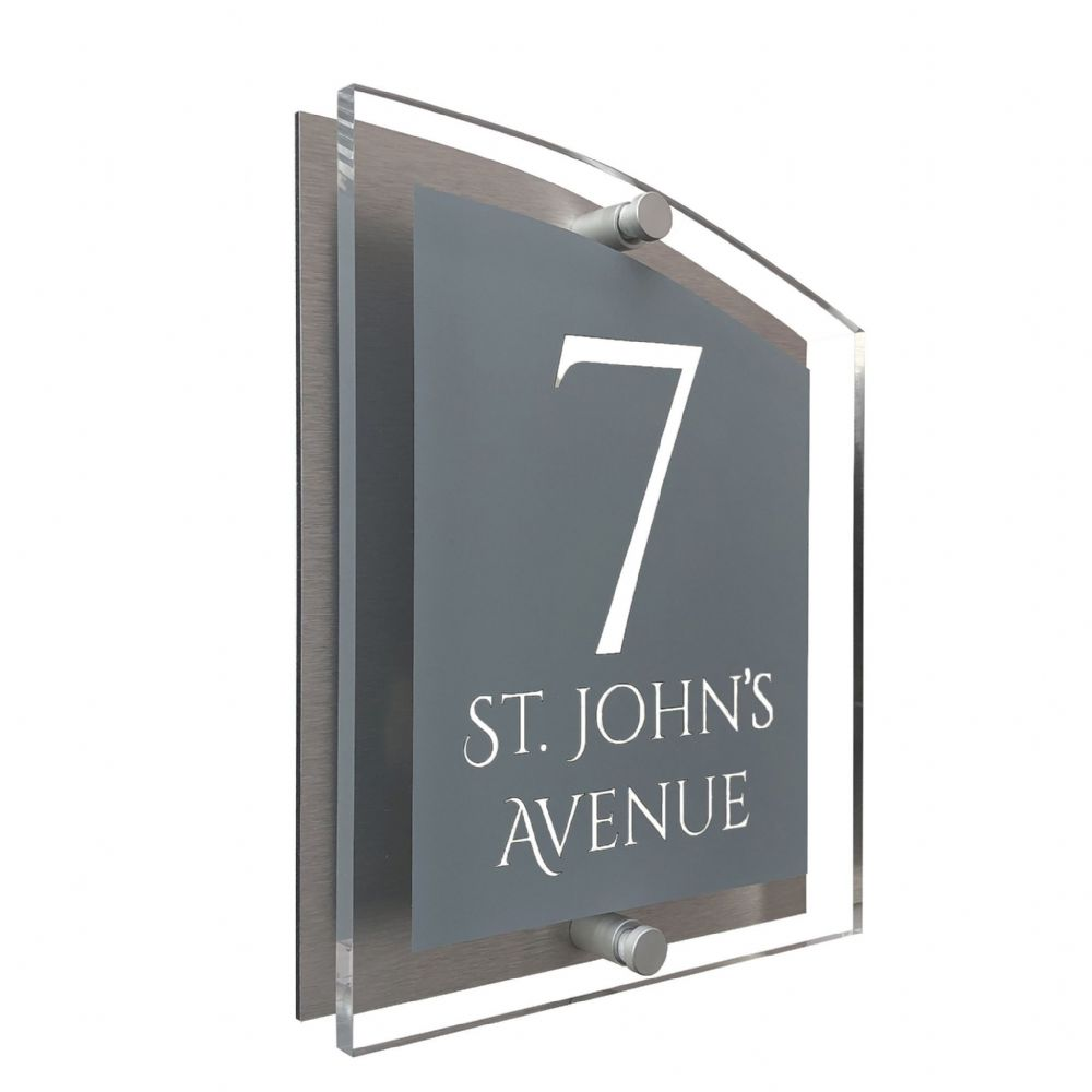 Arc Shape - Clear Acrylic House Sign - Mid Grey Colour with White text in Font  1